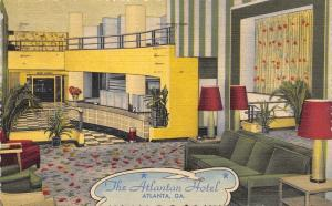 Atlanta Georgia~The Atlantan Hotel~Lobby~Check In Desk~1954 Linen Art Deco PC