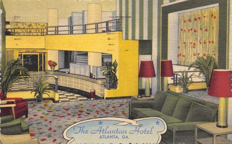 Atlanta Georgia~The Atlantan Hotel~Lobby~Check In Desk~1954 Linen Art Deco PC
