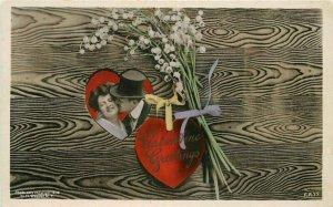 1910 Valentine Lovers heart Flowers romance Rotograph RPPC Postcard 9424