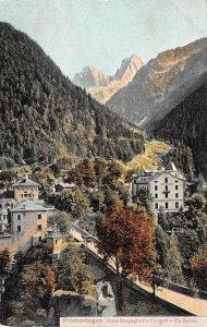 Promontogno Hotel Bregaglia Piz Cenaglo e Piz Badile Switzerland Writing on b...