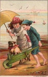 1880s-90s Boy & Girl w/ Dog Cart John Dodds Sulky Hay Rakes Trade Card Dayton OH