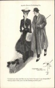Harrison Fisher Detroit Publishing - Woman Dog & Man c1902 Postcard EXC COND