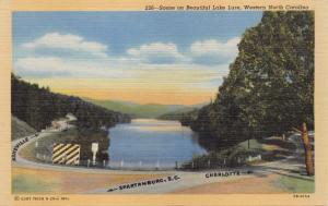 BEAUTIFUL LAKE LURE WESTERN NORTH CAROLINA~DIRECTION LABELS POSTCARD 1940s