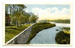 NY - Elmira. Chemung River from Main Street   (crease)