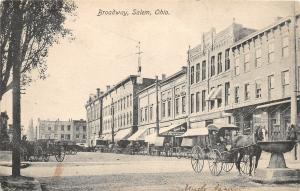 F63/ Salem Ohio Postcard c1910 Broadway Street Fountain Stores Confections