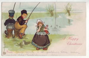 P1000 1905 card fishing christmas dutch dressed boys and girl w/doll