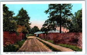 CHARLOTTESVILLE, VA  Serpentine Wall UNIVERSITY OF VIRGINIA  ca 1920s Postcard