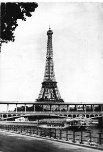 France Paris La Tour Eiffel Tower River Bridge Boat Postcard