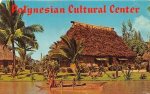 Oahu Hawaii~Fijian Village Chief & Boys in Canoe @ Polynesian Cultural Ctr~1969