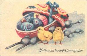 Postcard Holidays eggs chicken basket multi color