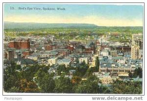 Bird's Eye View of Spokane,, Washington, WA, Divided back