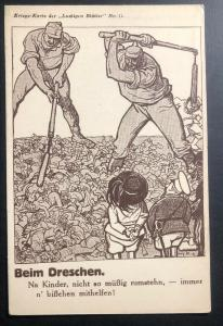 Mint Germany WAR Picture Postcard PPC when threshing