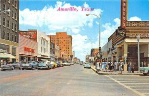 Amarillo TX Diamond Shop Street View Storefronts Woolworth's Old Cars Postcard