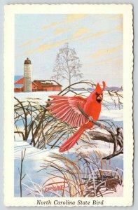 North Carolina State Bird~Cardinal on Branch~Farm Silo~1968 Ken Haag Postcard