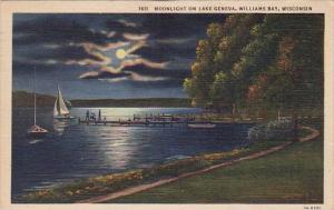 Moonlight On Lake Geneva Williams Bay Wisconsin 1949