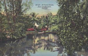 Florida Fort Lauderdale Canal Scene 1945 Curteich