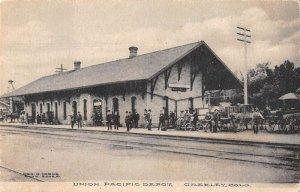 Greeley Colorado Union Pacific Depot Train Station Vintage Postcard AA30973