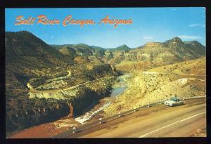 Salt River Canyon,Arizona/AZ Postcard, Highway/Old Car,'50's