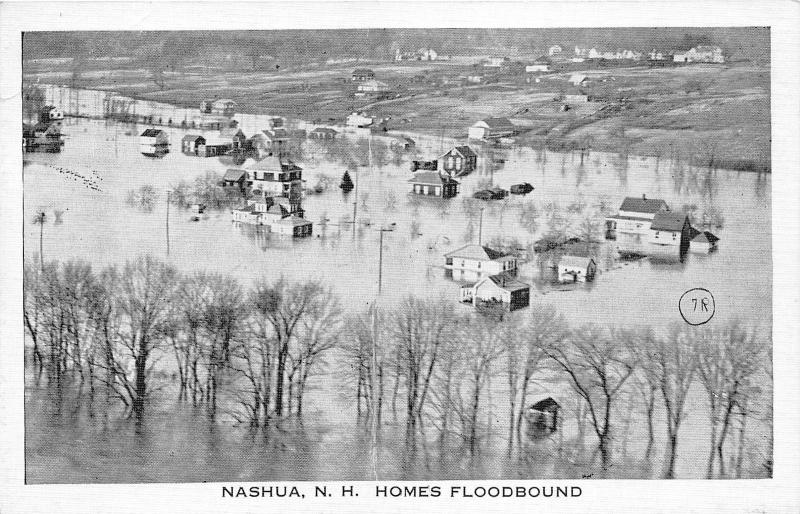 Nashua New Hampshire Bird's Eye View~Great New England Flood of 1936~Postcard