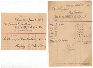 (2) 1891-3 Billheads, S. S. RICH & SON,  F. A. SMITH & CO...