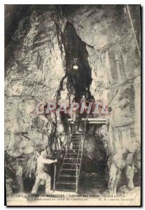 Old Postcard Baume les Messieurs Caves Interior Grand staircase leading to th...