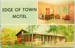 Sister Bay, Wisconsin Postcard EDGE OF TOWN MOTEL Room View 1950s Dexter Chrome