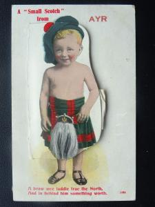 Scotland AYR 12 Image NOVELTY A Small Scotch PULL-OUT c1913 Postcard