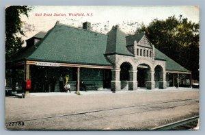 WEDSTFIELD NJ RAILWAY STATION ANTIQUE POSTCARD railroad depot