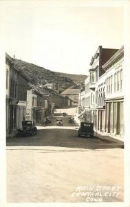 Autos 1940s Center City Colorado Main Street RPPC real photo postcard 5899