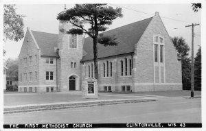 H38/ Clintonville Wisconsin RPPC Postcard c50s The First Methodist Church