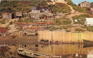 Kobuk River Alaska~Drying Salmon in Fishing Village~Log Cabins~Boat in Water~'50