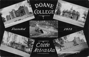 Crete Nebraska~Doane College~Mini Multi Vws~Chapel~Halls~Campus Bridge~1958 RPPC