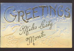 GREETINGS FROM MILES CITY MONTANA EMBOSSED VINTAGE POSTCARD