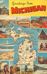 Greetings from Michigan, USA Map Unused