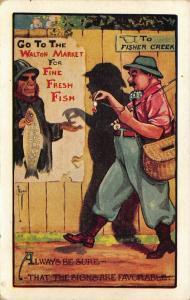 C Ryan~Comic Pun~Fisherman Pays Walton Market~Fresh Fish~Signs Favorable~1908