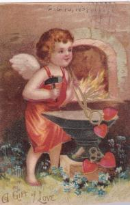 A Gift of Love, Blacksmith Cupid making red hearts, Forget-Me-Not, PU-1909