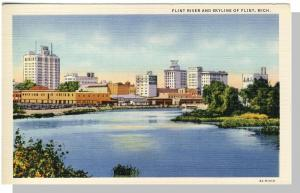 Classic Flint, Michigan/MI Postcard, Flint River & Skyline