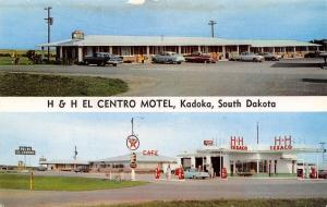 Kadoka SD H&H El Centro Motel & Cafe~Texaco Gas Station~Nice 1950s Cars Postcard