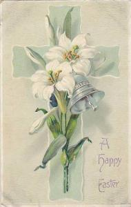 A Happy Easter, Lillies and a silver bell on a cross, 10-20s