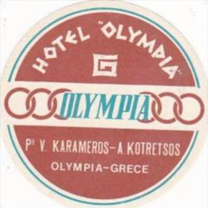 GREECE OLYMPIA HOTEL OLYMPIA VINTAGE LUGGAGE LABEL