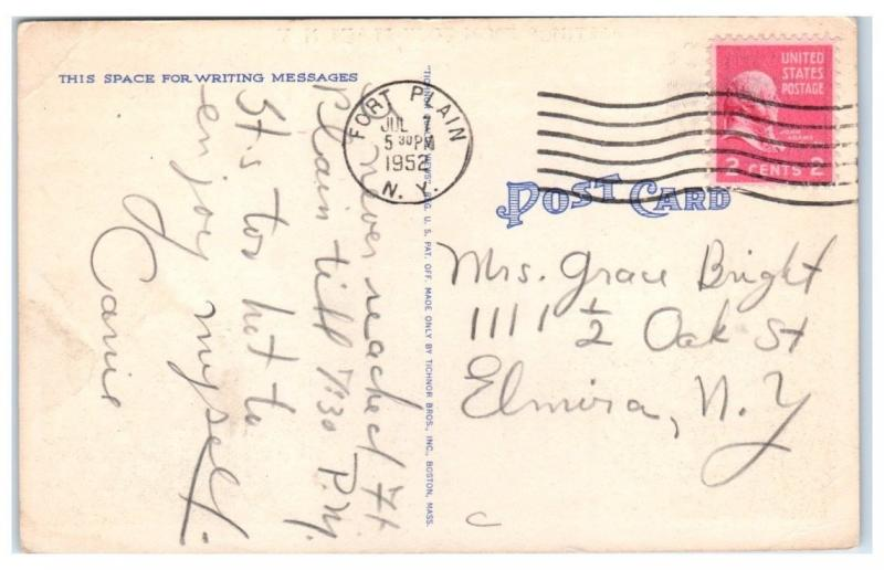 1952 greetings from fort plain ny postcard