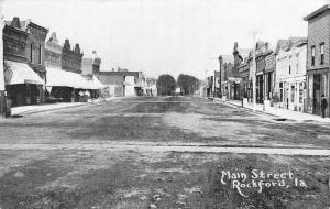 Rockford Iowa~Wide, Dirt Main St~Nice Roof Lines~Shops on Both Sides 1911 B&W