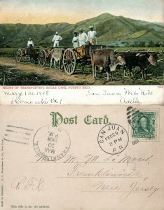 PUERTO RICO TRANSPORTING SUGAR CANE ANTIQUE 1908 UNDIVIDED POSTCARD CORK CANCEL