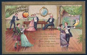 Halloween Greetings Old Fashion Dance Party used c1911