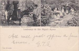 Azores Sao Miguel Native Costumes and Washer Women 1905