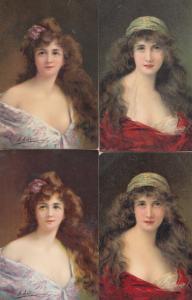 Beatrice Juliet Gladys Marquerite 4x Tucks Oilette Glamour Postcard s