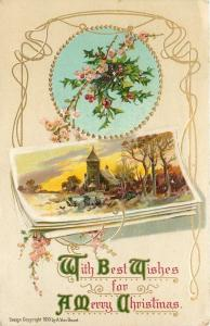 Christmas~Tearoses~Holly~Church Picture~Art Nouveau~Gold~Emb~Germany~A Von Beust