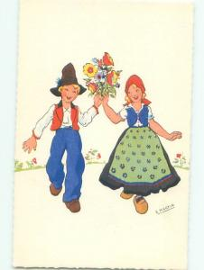 foreign Pre-1980 signed GIRL AND BOY HOLDUP FLOWER BOUQUET AC6808@