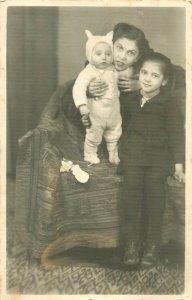 Romanian family social history photo postcard dated 1943 Ramnicu Valcea