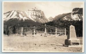 Postcard Canada Alberta The Great Divide Sign RPPC Byron Harmon Real Photo Q10